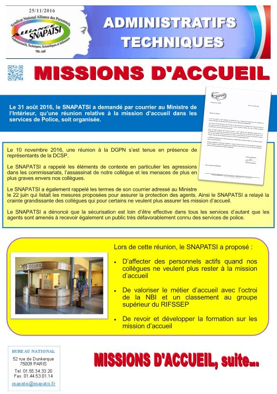 Missions accueil
