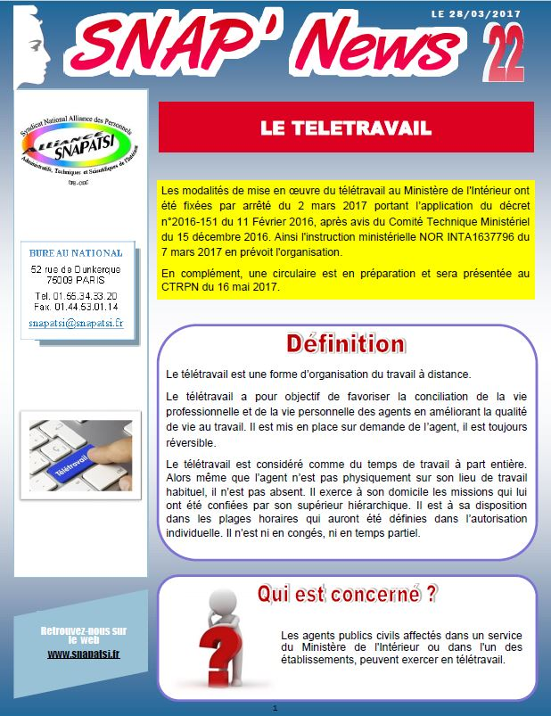 SNAP'NEWS TELETRAVAIL