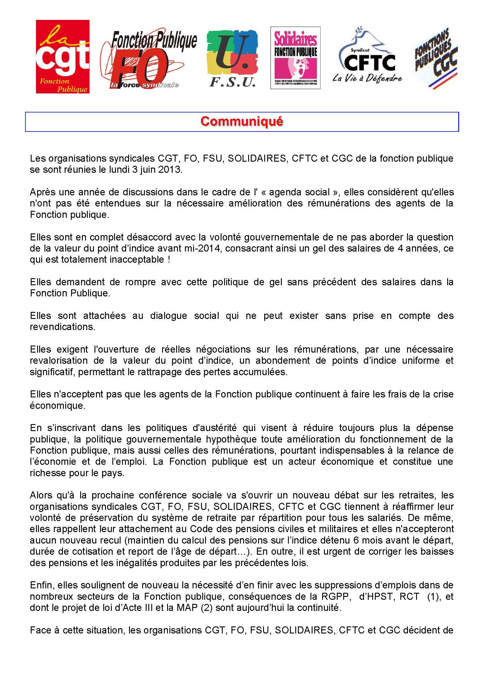 d164d79cd7c Salaires dans la Fonction Publique   communiqué commun