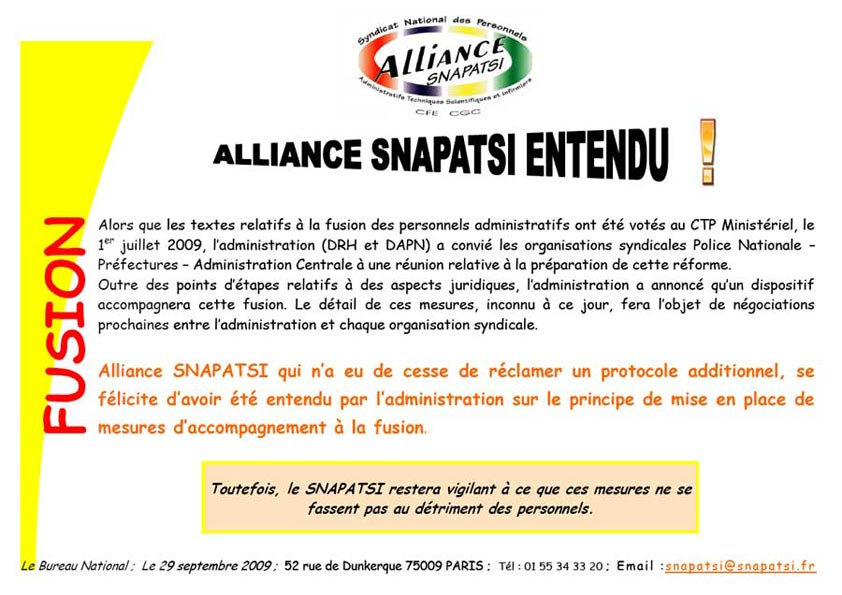 Tract Alliance SNAPATSI entendu