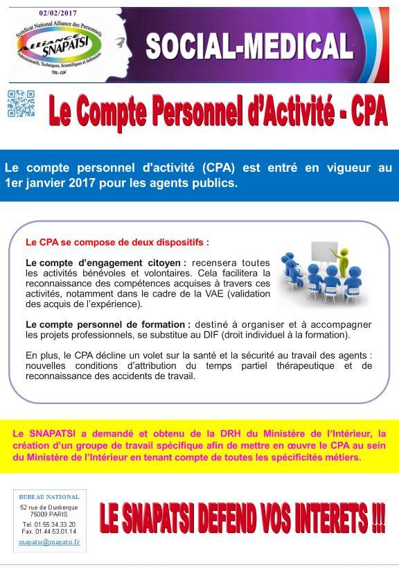 compte personnel activité