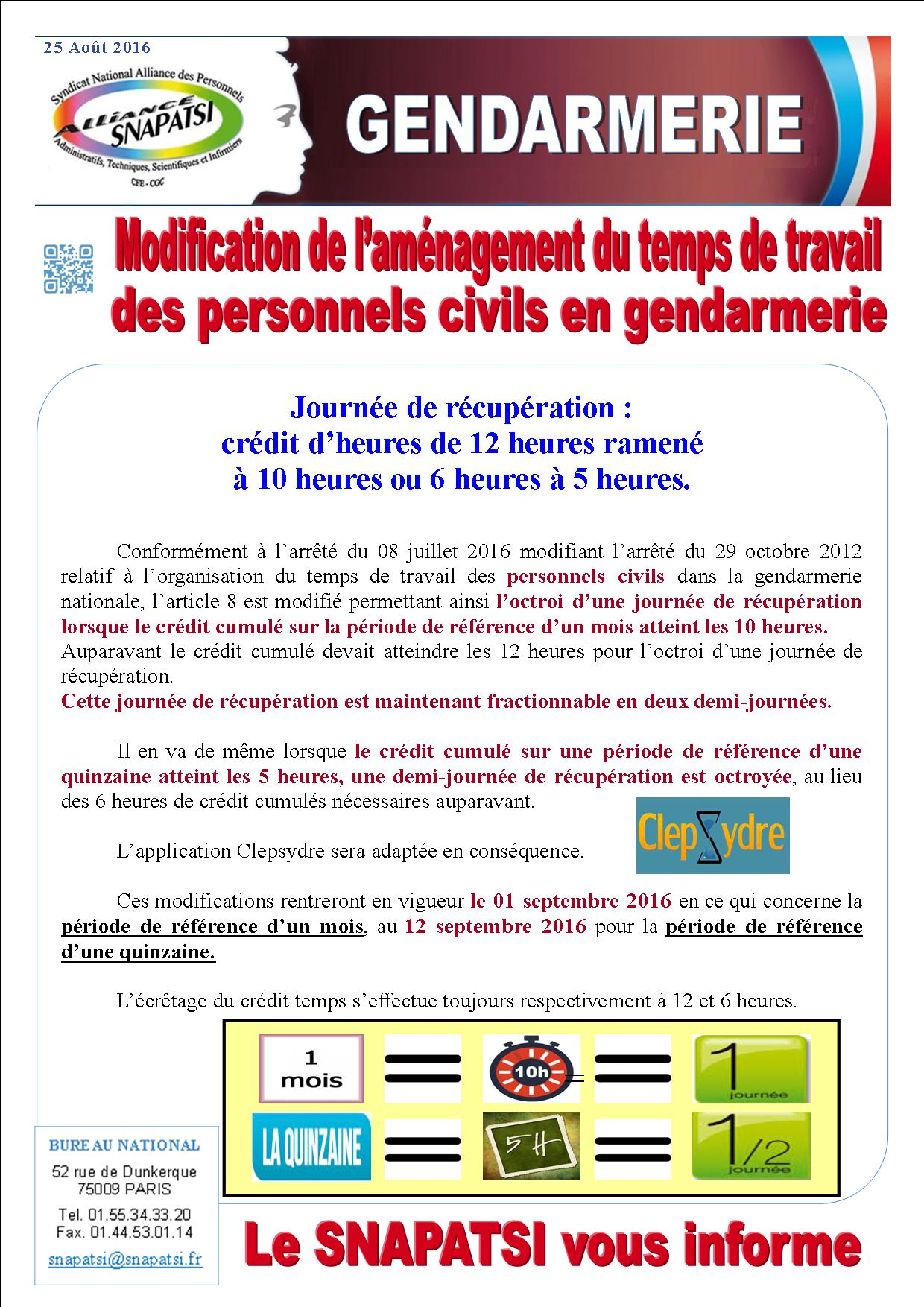 tract modification de laménagement du temps de travail GENDARMERIE