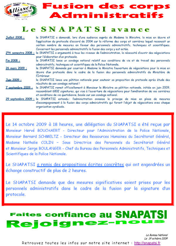 19.10.2009_Fusion_des_corps_administratifs_le_SNAPATSI_avance