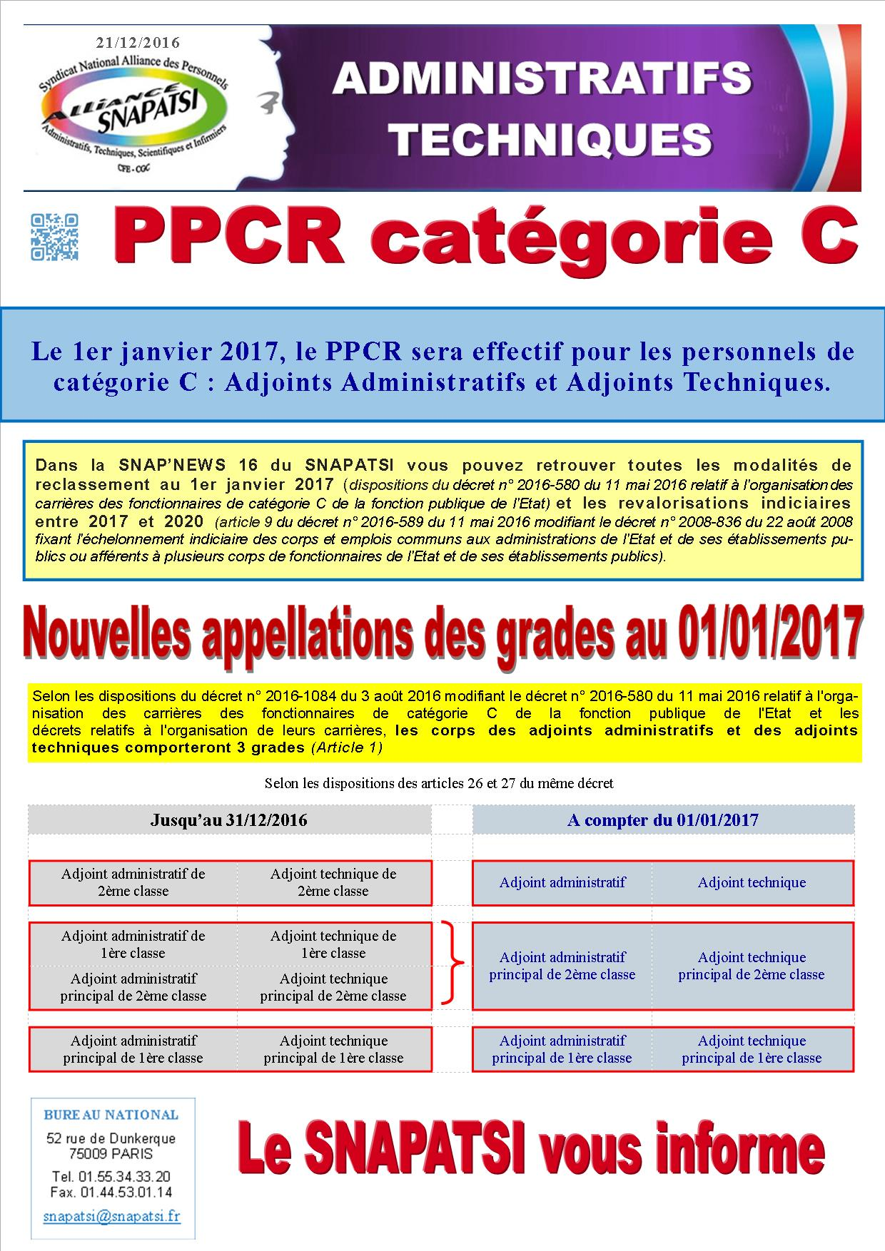 Tract PPCR appellations catégoriC