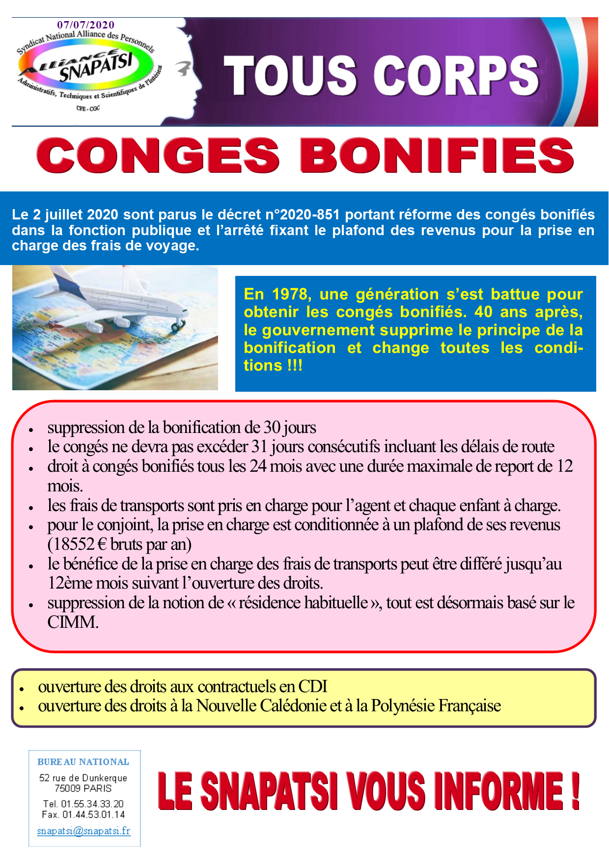 Tract conges bonifies 07072020