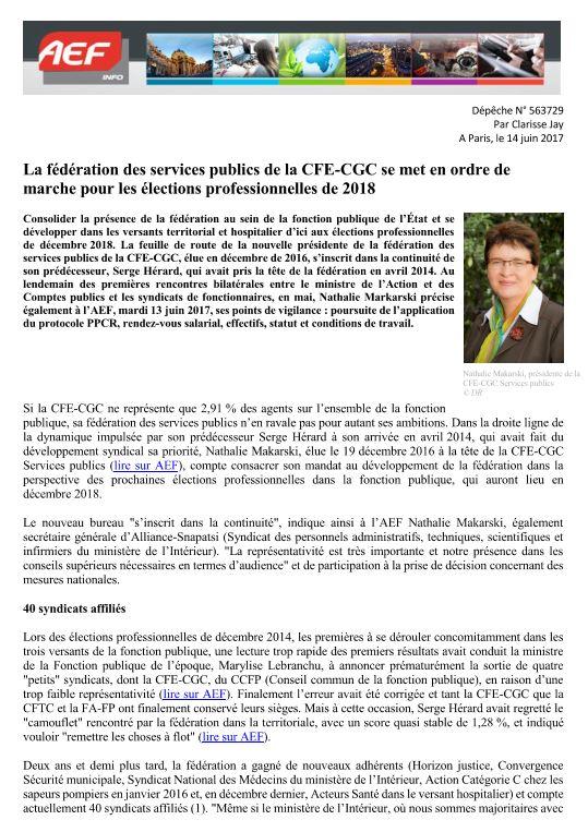 a05fb8120e5 AEF - Entretien de Nathalie MAKARSKI présidente de la Fédération des  services publics CFE-CGC