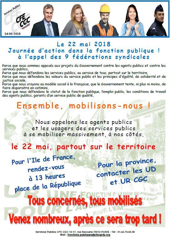 b6165813b4d Fonction Publique   Journée d action du 22 mai